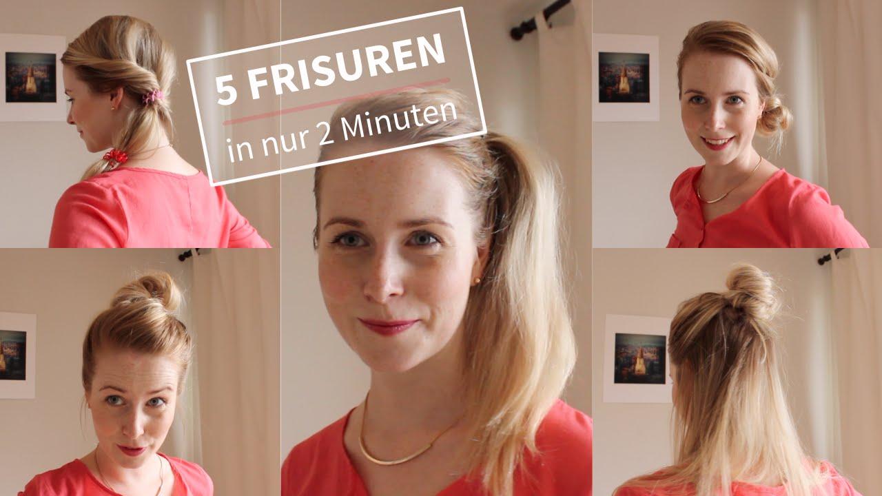 5 Einfache FRISUREN In 2 Minuten Ohne Flechten YouTube