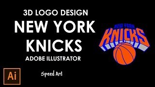 3D New York Knicks Logo Design in Adobe Illustrator  2017