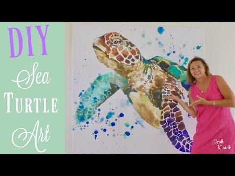 Big Sea Turtle Art DIY | Coastal Decor | Craft Klatch