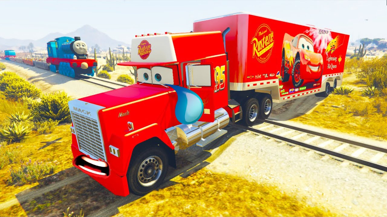 Cars 3 Mack Truck Hauler In Trouble With Train Spiderman