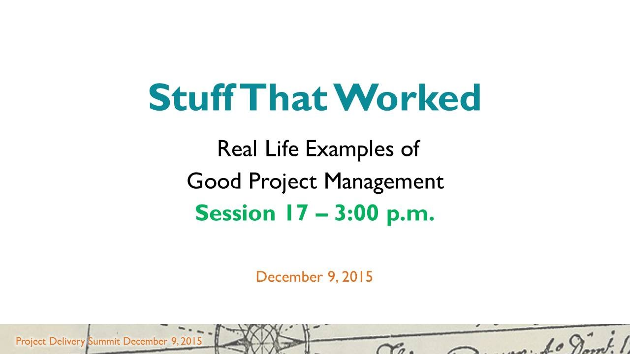 Pd2015 session 17 real life examples of good project management pd2015 session 17 real life examples of good project management youtube 1betcityfo Images