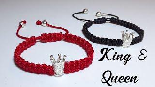 Como hacer una pulsera para parejas con corona King & Queen
