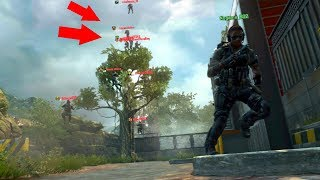 i didn t see them in a glitch spot on top of the trees hide n seek on black ops 2