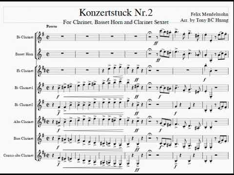 Medelssohn Konzertstuck Nr 2 for Clarinet, Basset Horn & Clar. Sextet