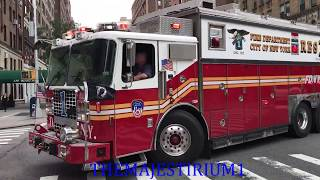 FDNY RESPONDING COMPILATION 84 FULL OF BLAZING SIRENS & LOUD AIR HORNS THROUGHOUT NEW YORK CITY.