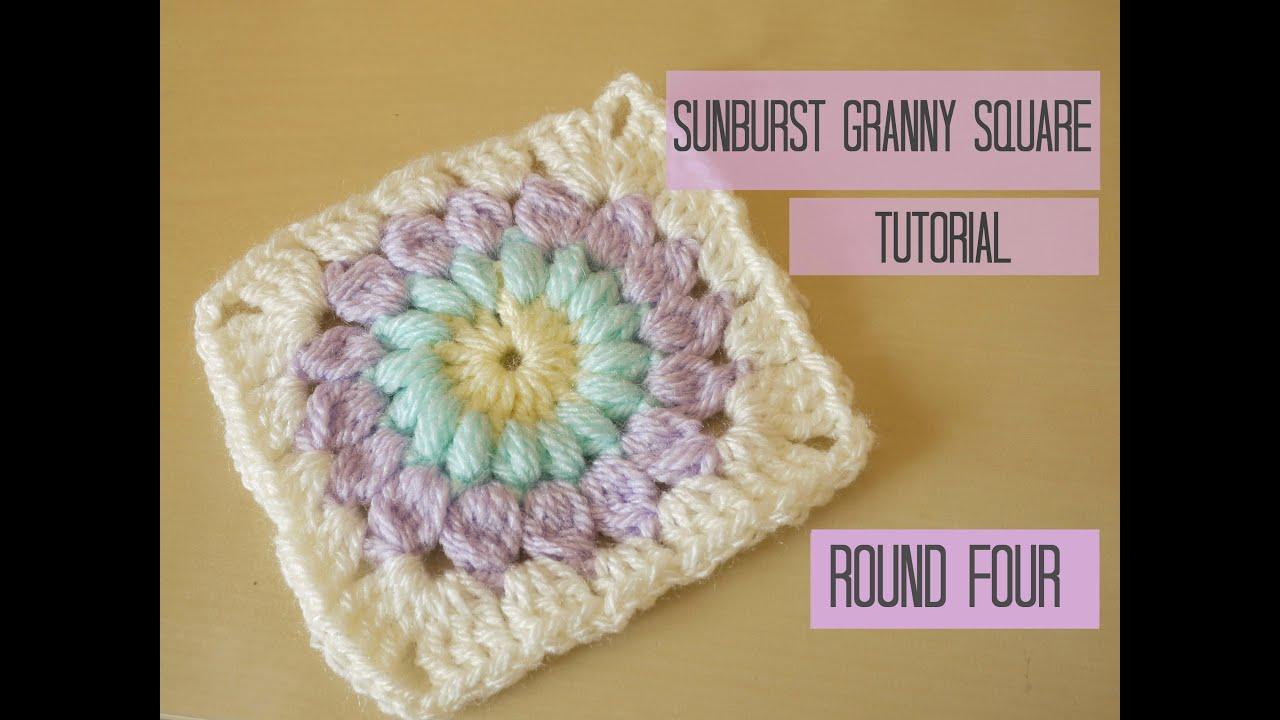 Crochet Sunburst Granny Square Tutorial, Round Four -8021