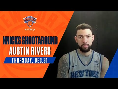 Austin Rivers talks to media ahead after Knicks' practice in Tampa