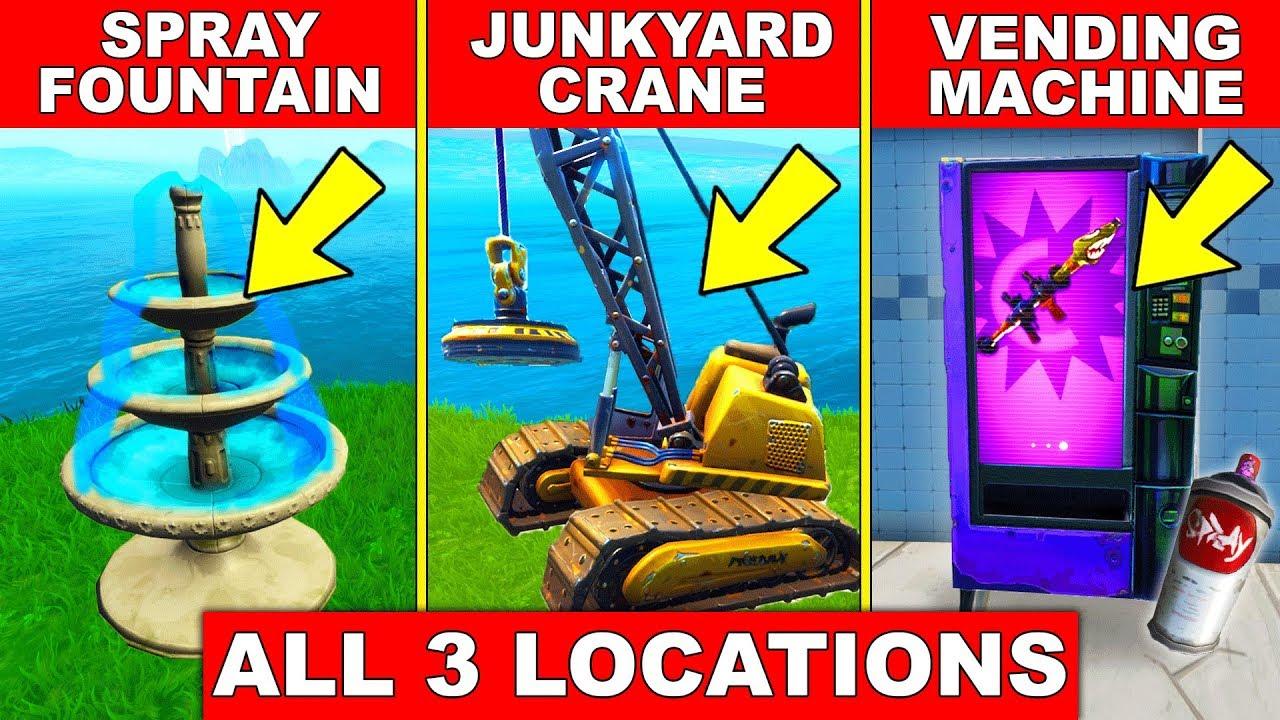 Fortnite Spray a Fountain, a Junkyard Crane, and a Vending Machine