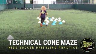 Kids Soccer Dribbling Drill - Technical Cone Maze for U8-U12