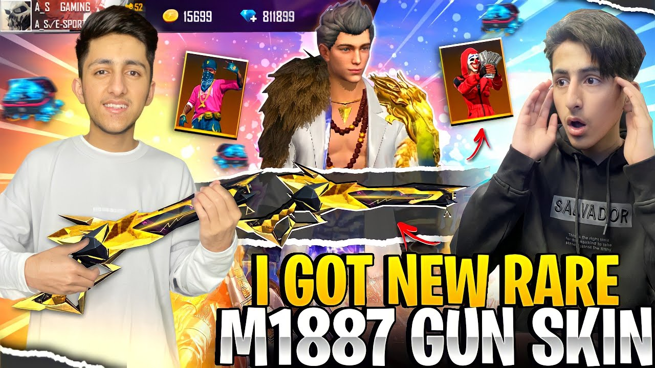 Download New Golden M1887 Skin & Duck Bundle 😂 Gifting To My Brother 10,000 Diamond - Garena Free Fire
