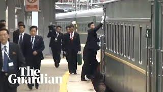 Kim Jong-un attendants wipe down train as he arrives in Russia for Putin talks
