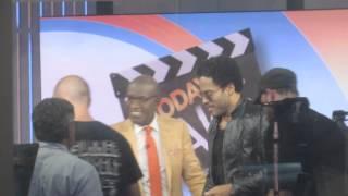 Lenny Kravitz huging his cousin Al Roker on Today Show