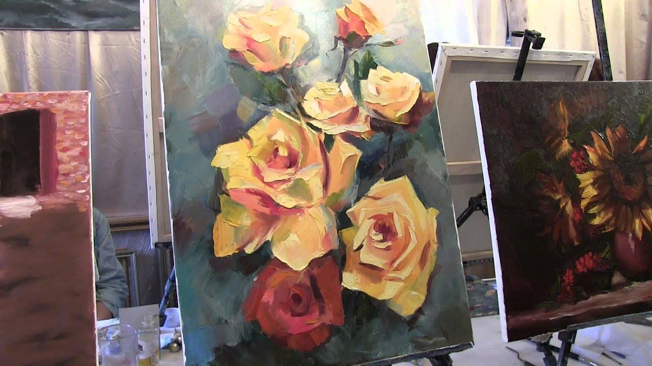 Как написать розы маслом. А.Южаков Живопись - YouTube