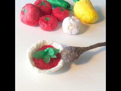 DIY bol à soupe et cuillère en papier. Paper soup bowl and spoon craft.
