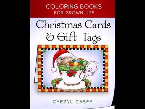 Page Flip Through Of Christmas Cards Gift Tags Coloring Book For Grown Ups