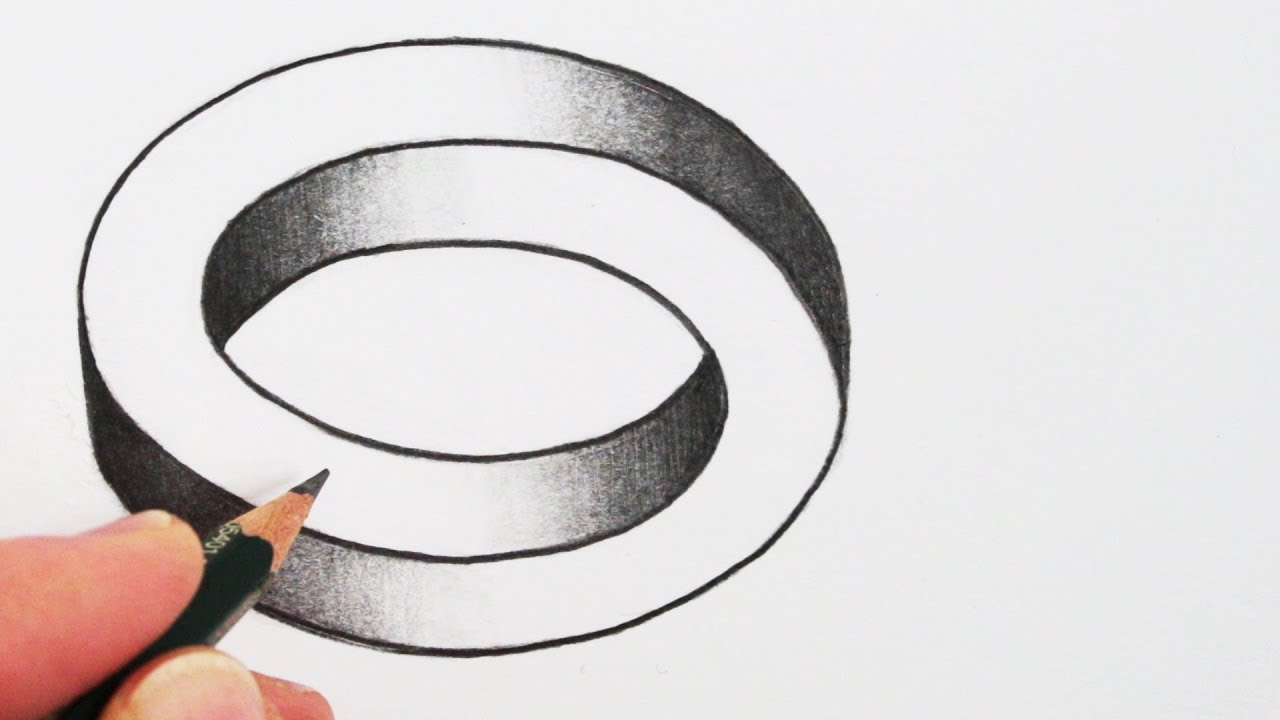 optical illusion draw simple impossible oval