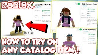 (New) HOW TO TRY ON ANY CATALOG ITEM ON ROBLOX! *Try Before You Buy*