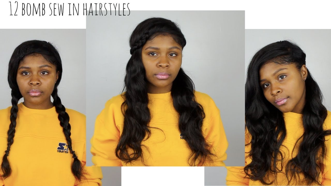 12 EASY HEATLESS Hairstyles for Side-part SEW-IN - YouTube