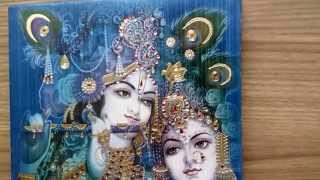 radha krishna design for wedding card in turquoise golden avv 266
