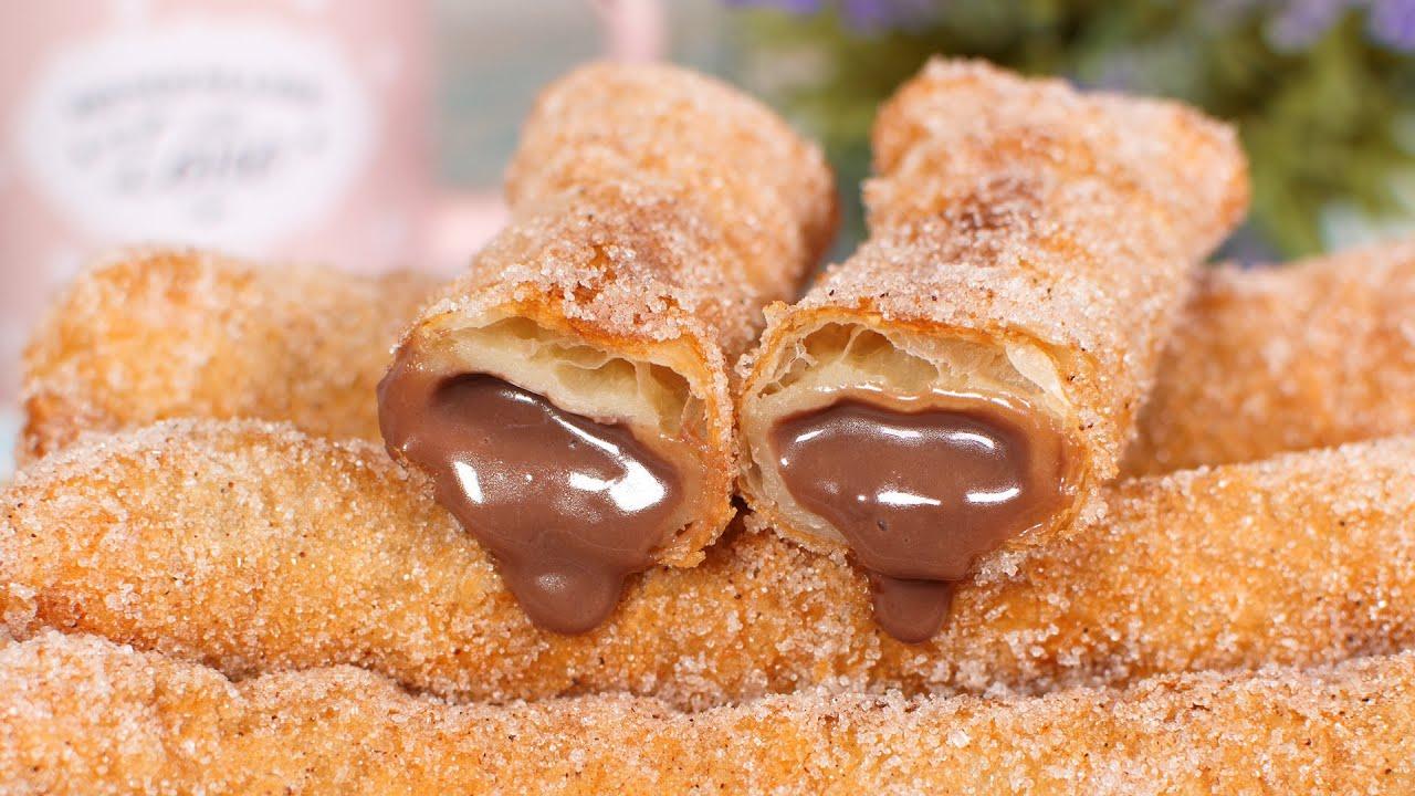 Teresitas de Hojaldre Rellenas de Crema Pastelera de Chocolate