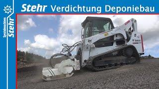 Verdichtung - Bobcat und Stehr Plattenverdichter im Deponiebau bei  Steigungen