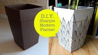 Diy Sharpie Modern Graphic Pattern Planter #1