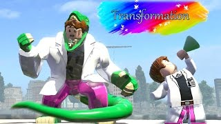 curt connors transformation into lizard amazing battle fight lego marvel super heroes game