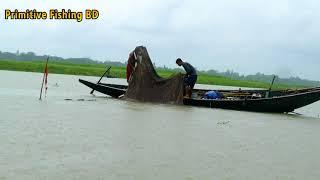 Fisherman Fishing From River On Rain Days !