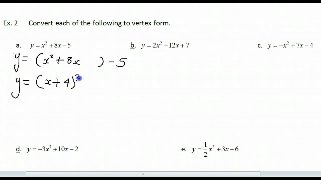Converting Between Standard Form and Vertex Form - YouTube