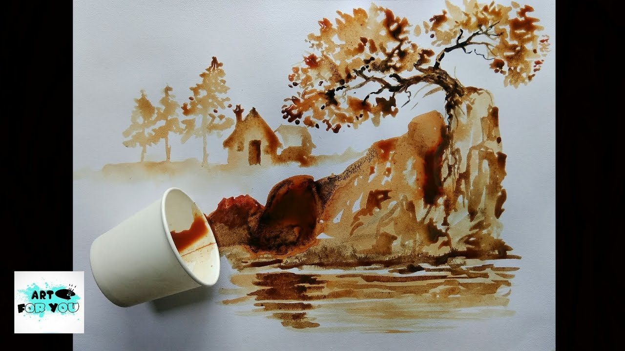 Coffee art artwork coffee decor instant coffee art for Painting with coffee