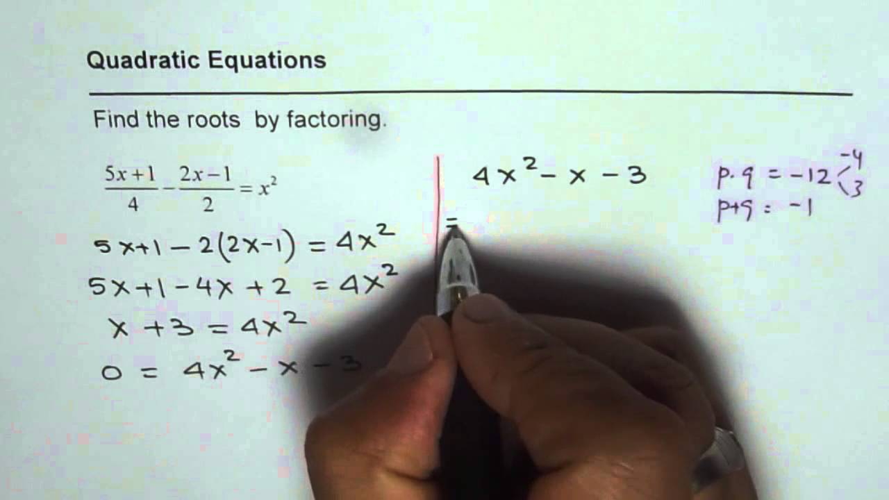 Solve Quadratic Equations With Fractions By Factoring