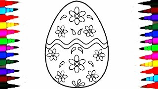 How to Draw GIANT Easter Surprise Egg l Learning Coloring Pages for Kids