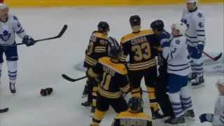 Marchand Knee on Knee with Komarov - JVR Almost fights Marchand
