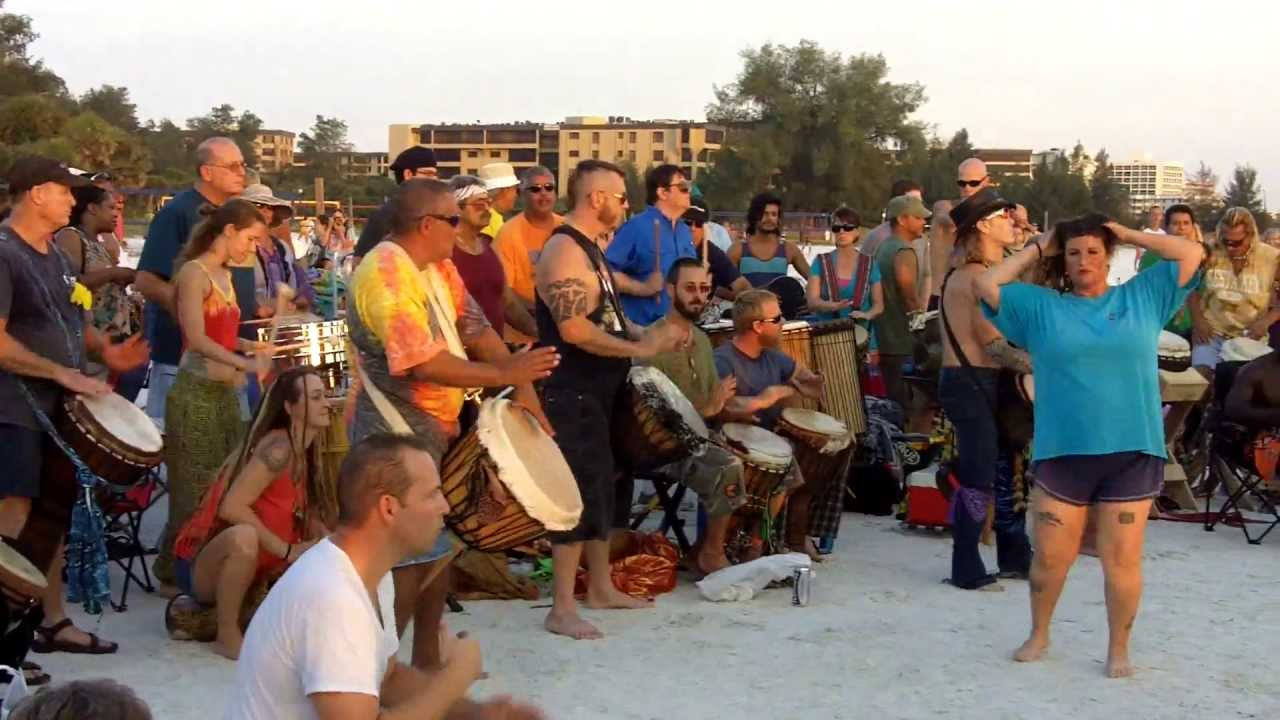 Siesta Key Florida Drum Circle Every Sunday At Sundown Youtube
