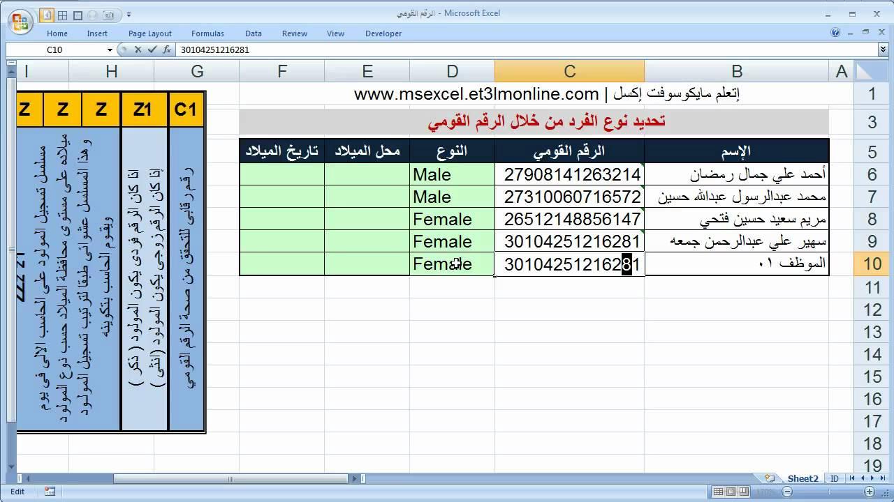 تحديد نوع الفرد ذكر انثى بواسطة الرقم القومي