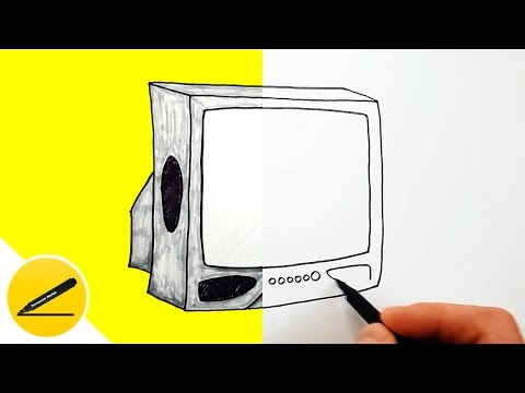 Как нарисовать телевизор карандашом поэтапно