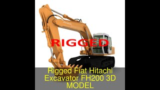 3D Model of Rigged Fiat Hitachi Excavator FH200 Review