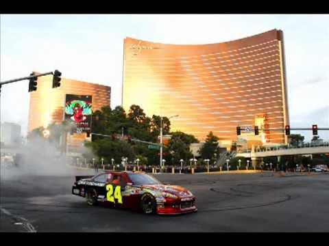 US Marine Rides Shotgun with Jeff Gordon During Burnout Session on Las Vegas Boulevard