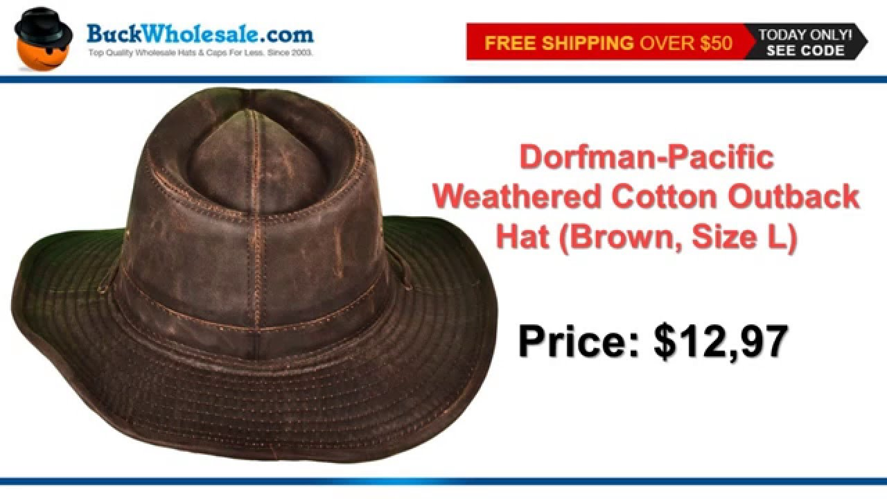 dad75a428cb Dorfman-Pacific Weathered Cotton Outback Hat (Brown