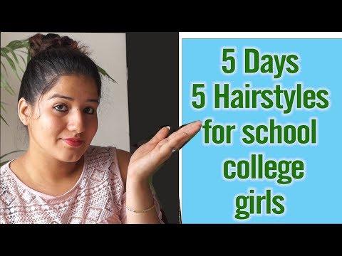 5 Days 5 Easy Hairstyles For School College Girls / सिंपल आसान हेयर स्टाइल्स