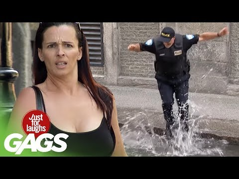 Crazy Cop Jumps into Puddles! - Just For Laughs Gags