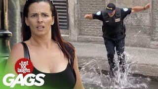 Crazy Cop Jumps into Puddles !