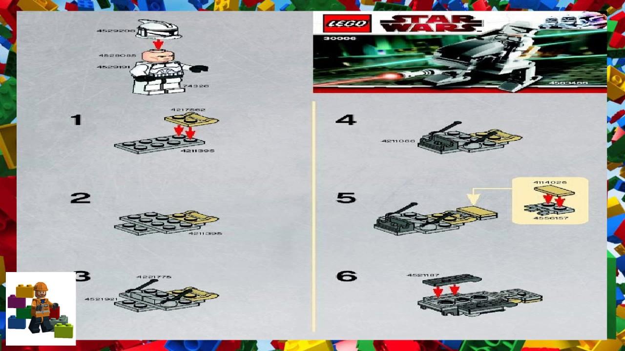 Lego Instructions Star Wars 30006 Clone Walker Youtube