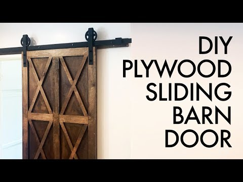DIY Plywood Sliding Barn Door For $200 // How To Build - Woodworking
