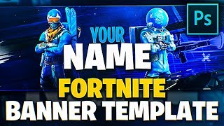 BLUE Fortnite YouTube Banner TEMPLATE 'DOWNLOAD' 'Photoshop'