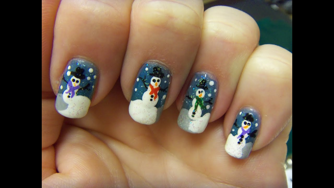 Art Designs: Teeny Tiny Snowman Nail Art Design
