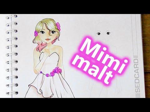 Brautkleid malen | MIMI MALT eine wunderschöne Braut mit Make up, Frisur und Kleid