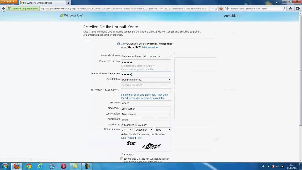 Hotmail Account Erstellen