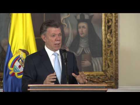 Presidente Santos durante la posesión de magistrados del Consejo Nacional Electoral - 4/sept/2014