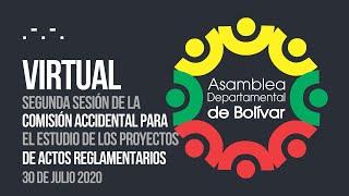 Segunda Sesión Comisión Accidental para Estudio de Proyectos de Actos Reglamentarios - 30 Julio 2020